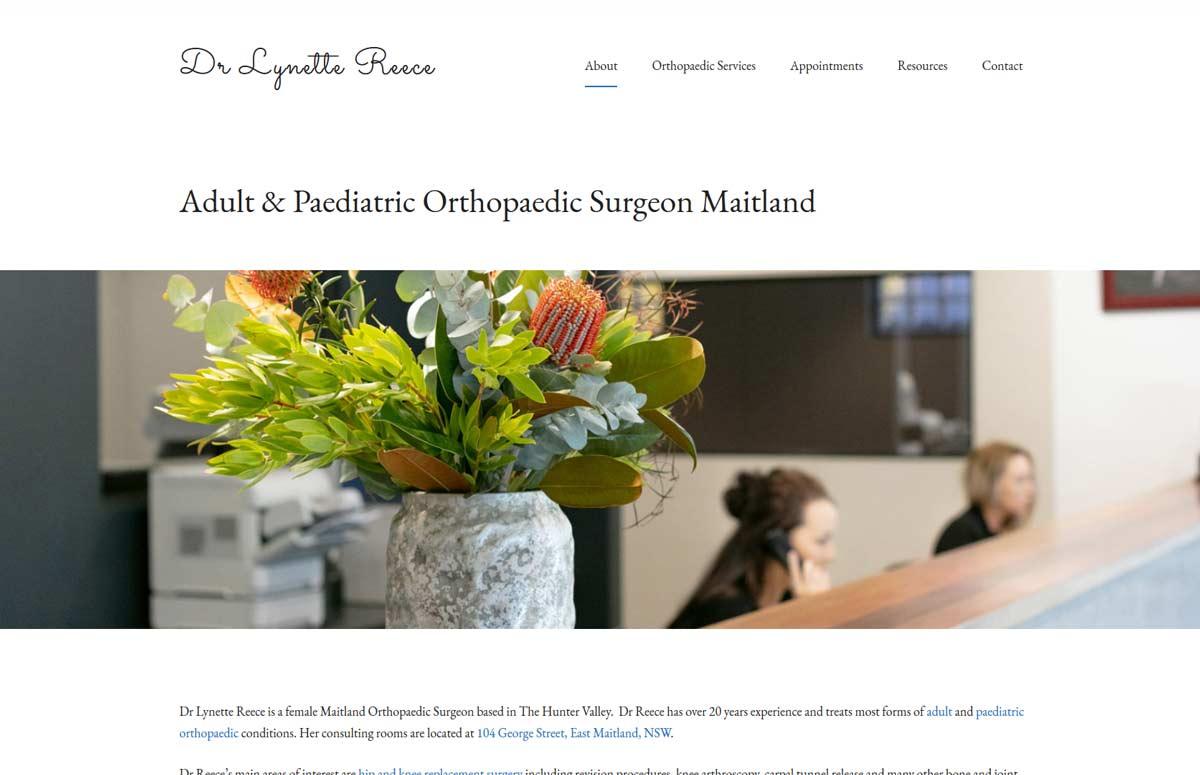 medical specialist website design for dr lynette reece