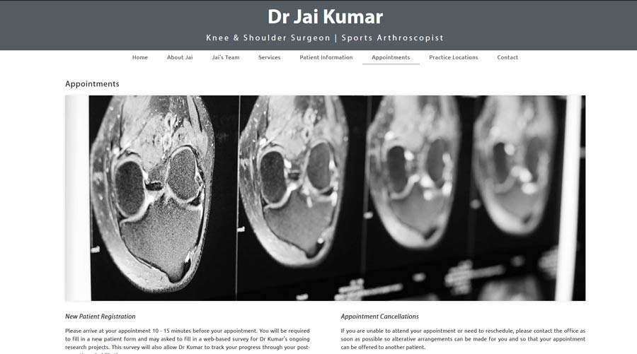 sub page on a medical practice website