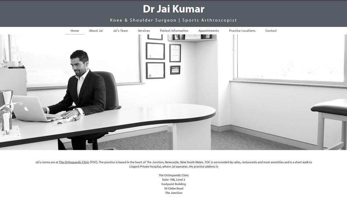 orthopaedic surgeon website design example