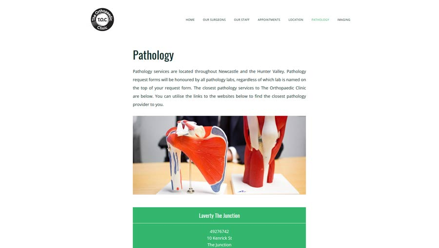 pathology page on a specialist doctor website design