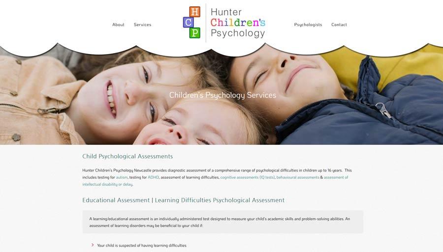 psychology practice website design home page