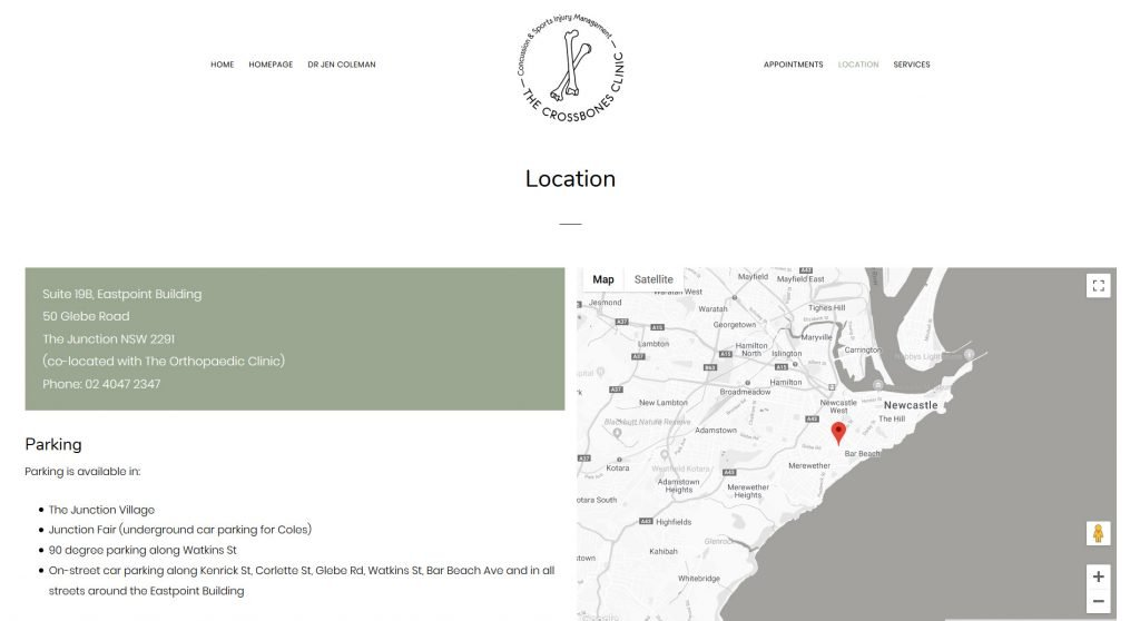 The Crossbones Clinic web design