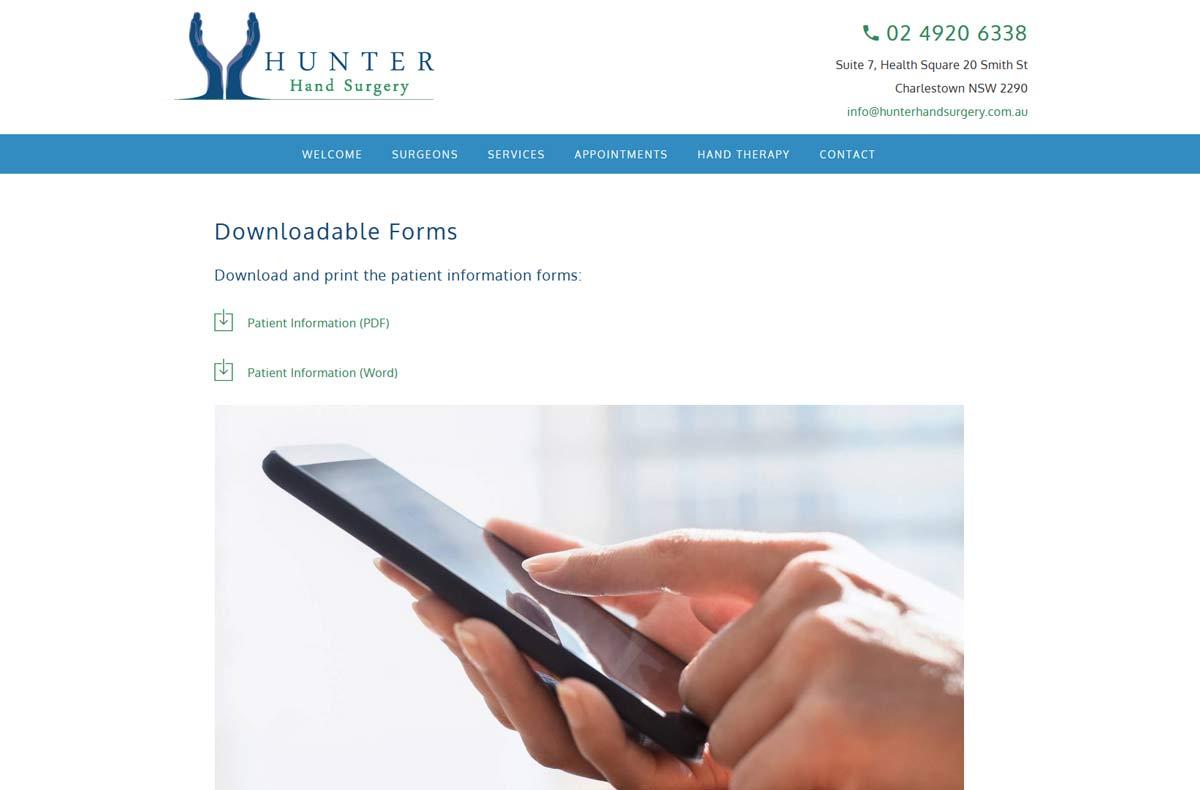 Hunter Hand Surgery Website Design