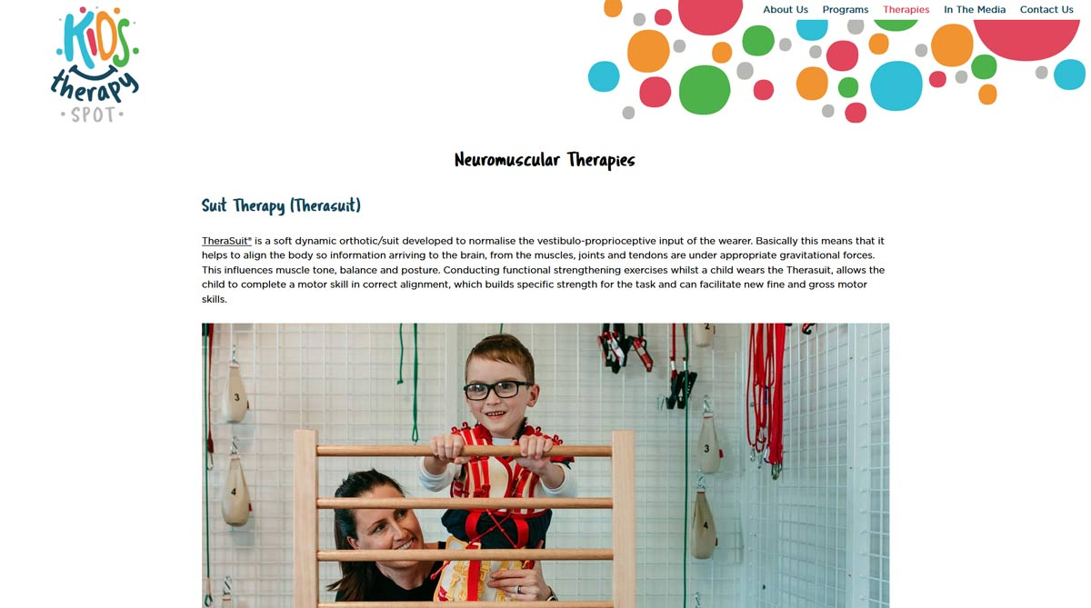 kids therapy website design
